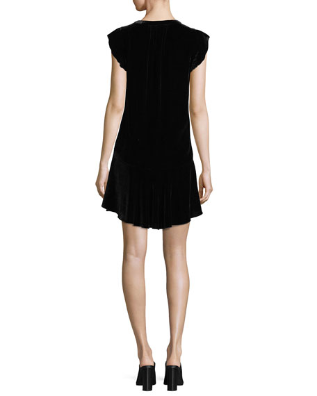 Almarie V-Neck A-Line Velvet Dress
