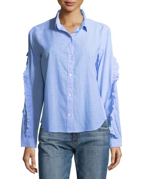 Rails Lizzi Striped Button-Front Poplin Shirt