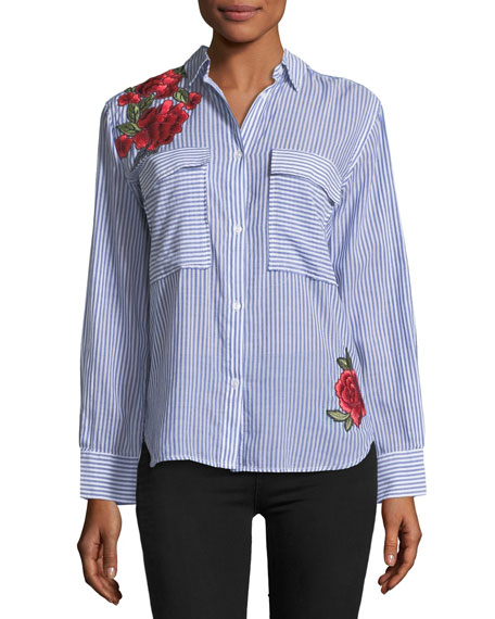 Frances Striped Button-Front Shirt w/ Rose Embroidery