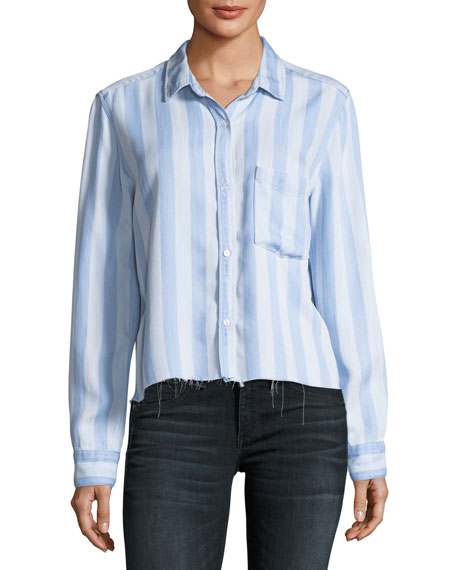 Rails Bishop Striped Button-Front Cutoff Top