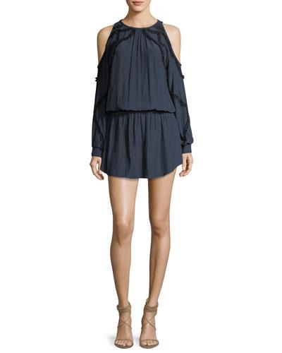 Taima Cold-Shoulder Blouson Dress w/ Ruffled Trim