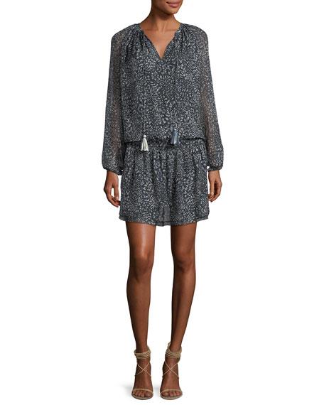 London Split-Neck Long-Sleeve Chiffon Dress