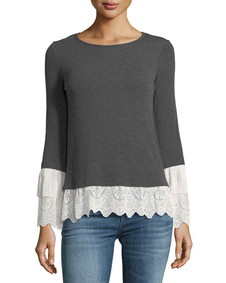 Bailey 44 Fairy Godmother Long-Sleeve Top w/ Lace