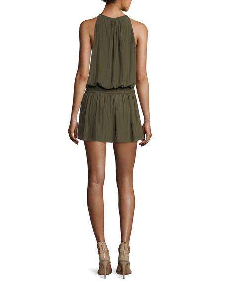 Hilton High-Neck Sleeveless Blouson Dress