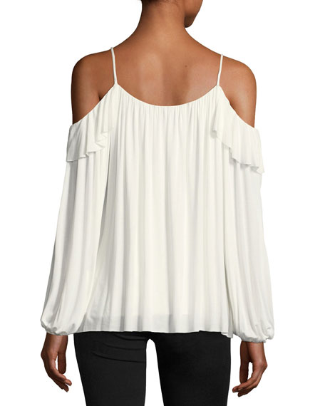 Fairy Tale Cold-Shoulder Pleated Top w/ Ruffles