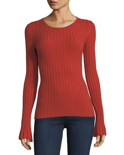 Enchanted Forest Long-Sleeve Rib-Knit Sweater