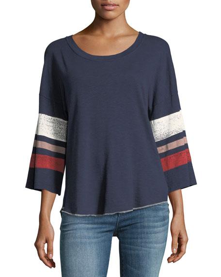 Splendid Roller Striped Bell-Sleeve Cotton Slub T-Shirt