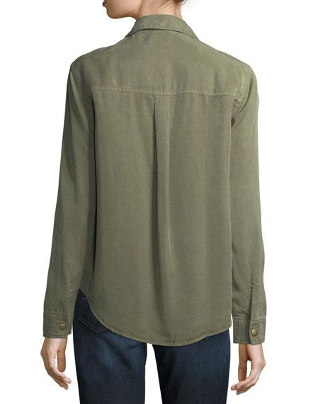 Snap-Front Long-Sleeve Military Shirt