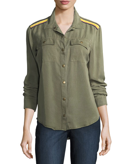 Snap-Front Long-Sleeve Military Shirt