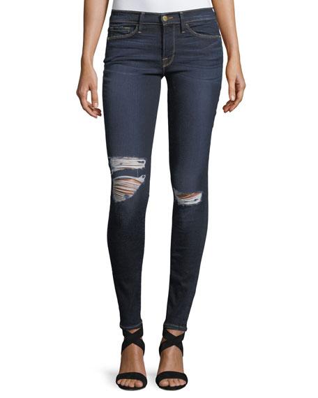 FRAME Le Skinny De Jeanne Distressed-Knee Skinny Jeans