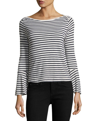 French Stripe Bell-Sleeve Top