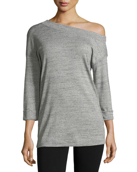 1X1 Long One-Shoulder Heathered Top