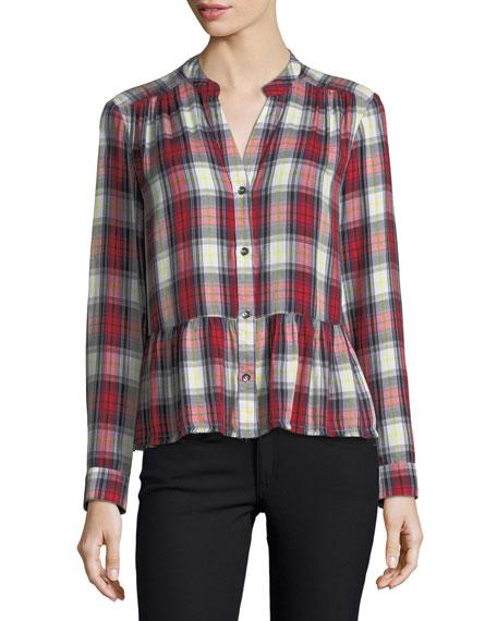 Edgware Plaid Button-Front Long-Sleeve Shirt