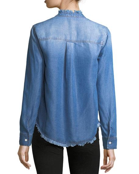 Button-Front Long-Sleeve Denim Shirt
