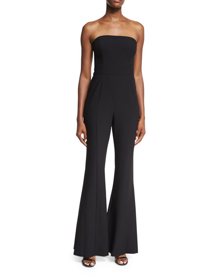 Black Halo Miller Bustier Strapless Flared-Leg Jumpsuit
