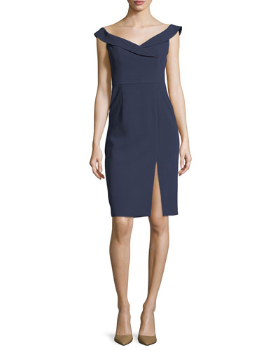 Hepfburn Off-the-Shoulder Sheath Cocktail Dress