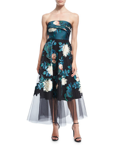 Baroda Strapless Floral-Print Tulle Gown