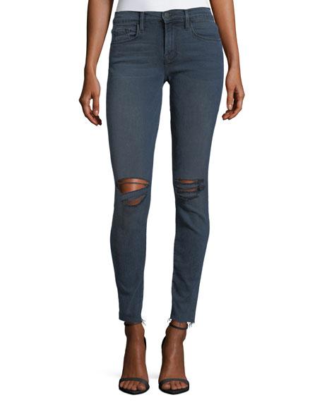 FRAME Le Skinny De Jeanne Slashed-Knee Skinny Jeans