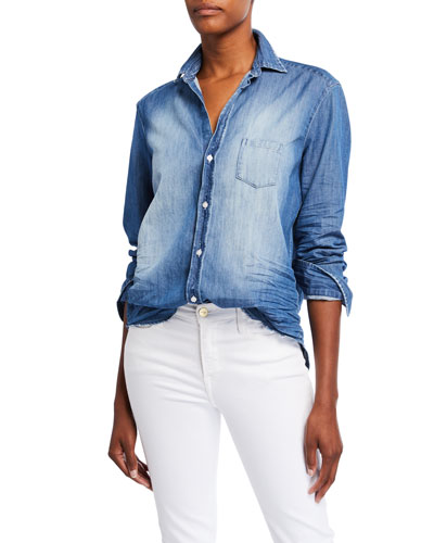 Long-Sleeve Button-Front Faded Denim Shirt