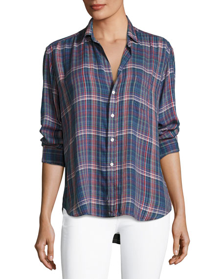 Long-Sleeve Button-Front Plaid Shirt