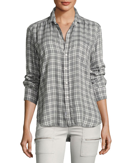 Long-Sleeve Button-Front Check-Print Shirt