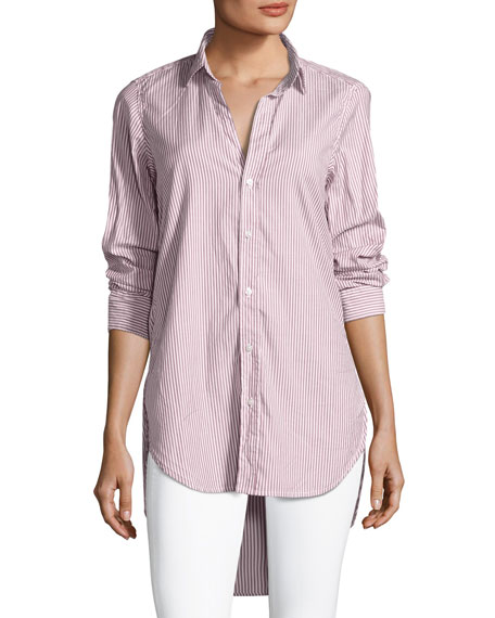 Frank & Eileen Grayson Long-Sleeve Button-Front Striped Poplin