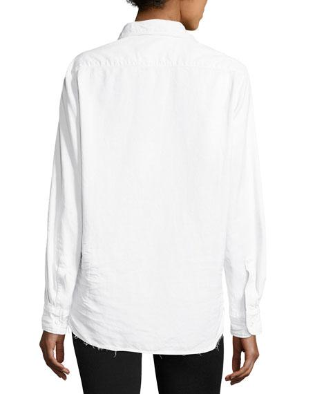 Long-Sleeve Button-Front Denim Shirt