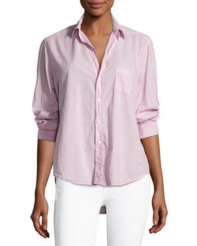 Long-Sleeve Button-Front Cotton Shirt