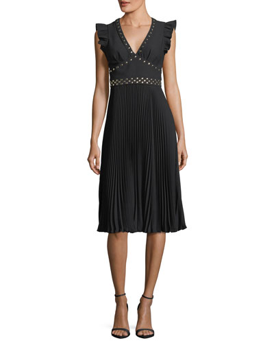 pleated stud crepe cocktail dress