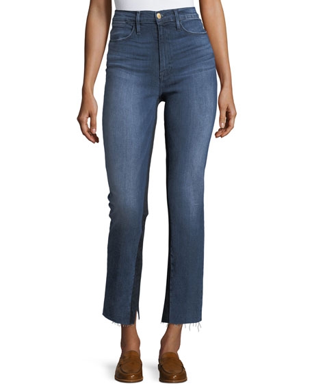 FRAME Le High Raw-Edge Split Straight-Leg Jeans and