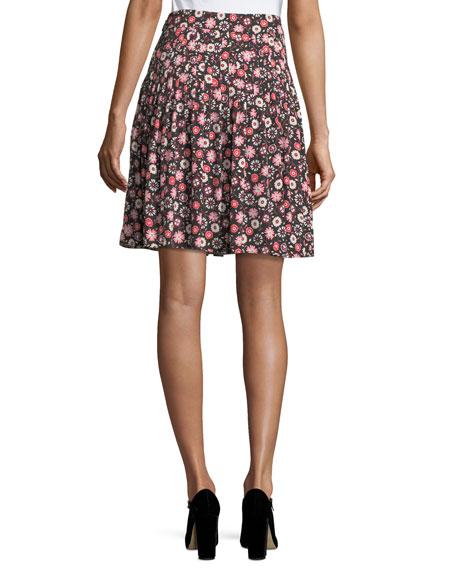 casa floral-print high-waist pleated mini skirt