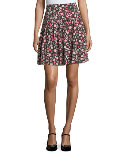 casa floral-print high-waist pleated mini skirt