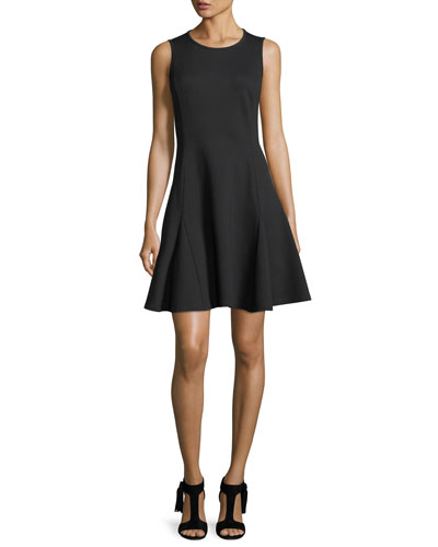 ponte sleeveless flounce fit-and-flare dress