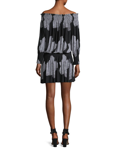 Off-the-Shoulder Rose-Print Peasant Dress