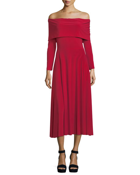 Norma Kamali Off-the-Shoulder Long-Sleeve Flared Midi Dress