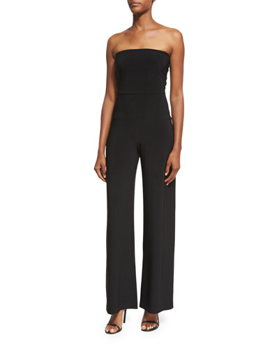 Strapless Jersey Wide-Leg Jumpsuit