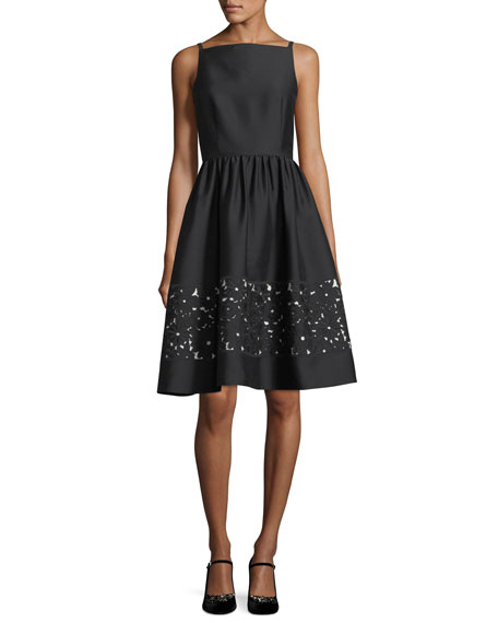 lace panel bateau-neck sleeveless fit-and-flare dress