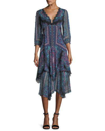 Janis V-Neck Paisley Chiffon Dress w/ Lace