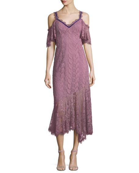 Nanette Lepore Debbie Lace Cold-Shoulder Slip Dress w/