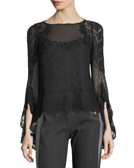 Nanette Lepore Carrie Boat-Neck Embroidered Mesh Blouse