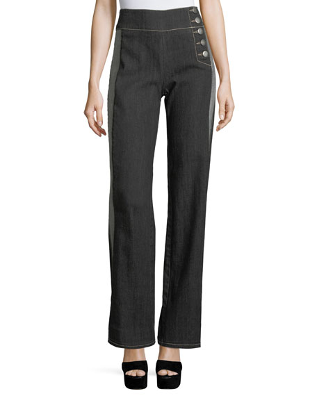 Nanette Lepore Patti High-Waist Side-Stripe Wide-Leg Pants