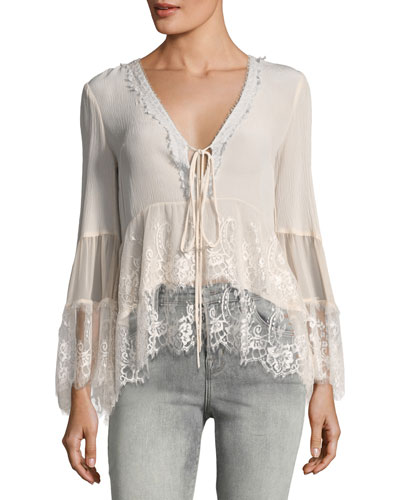 Virginia Plunging Lace Peasant Top