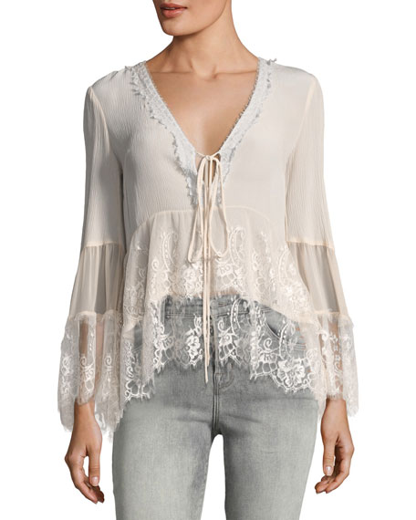 Nanette Lepore Virginia Plunging Lace Peasant Top