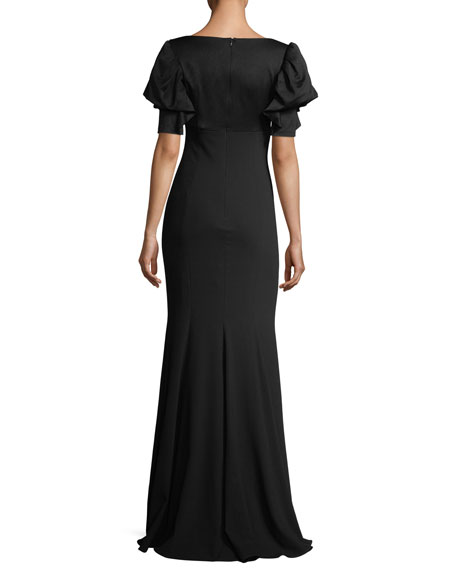 V-Neck Puff-Sleeve Evening Gown