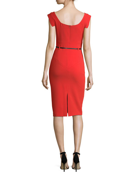 Jackie Asymmetric-Neck Belted Sheath Cocktail Dress