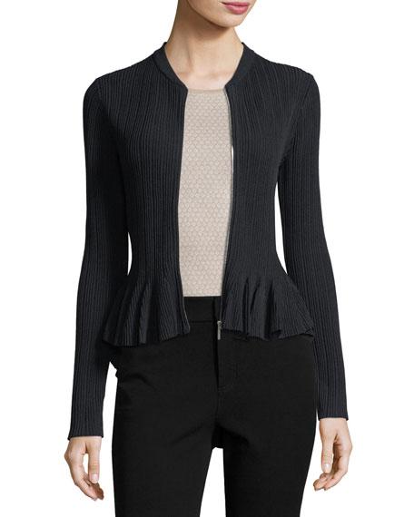 Released Rib Zip-Front Peplum Jacket
