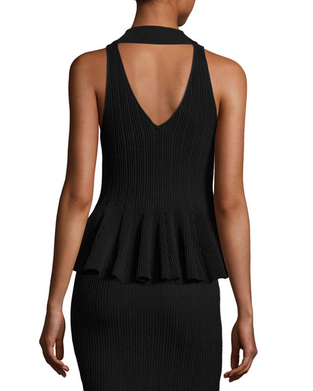 Released Rib-Knit Sleeveless Peplum Top