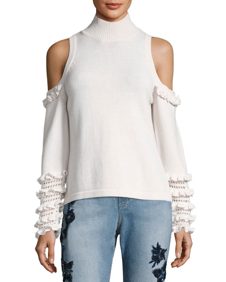 Jonathan Simkhai Cold-Shoulder Crochet Ruffle Turtleneck Sweater