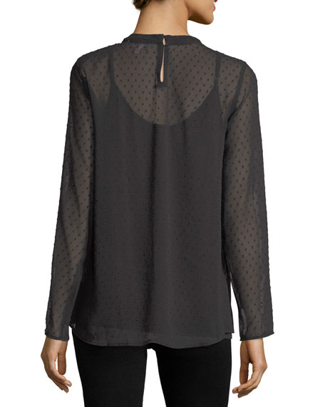 Long-Sleeve Point d'Esprit Embroidered Blouse