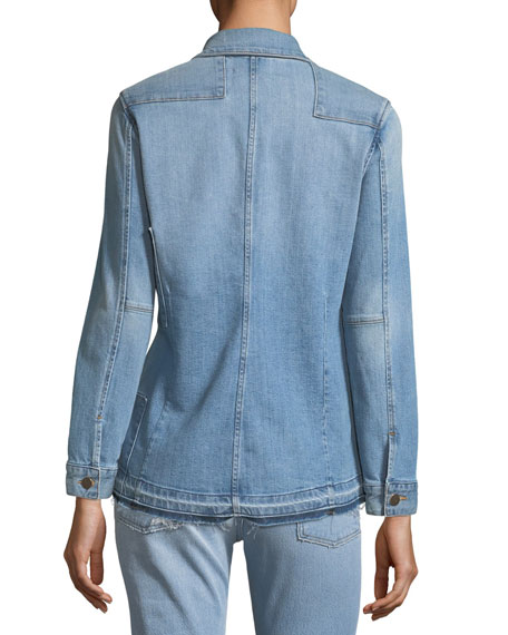 Le Patchwork Button-Front Denim Jacket
